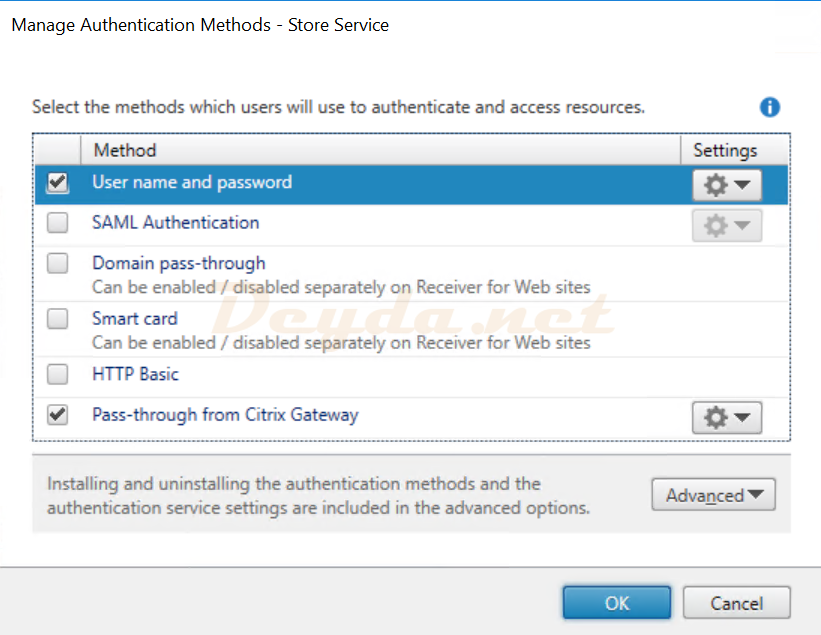 Citrix StoreFront Manage Authentication Methods Pass-through from Citrix Gateway