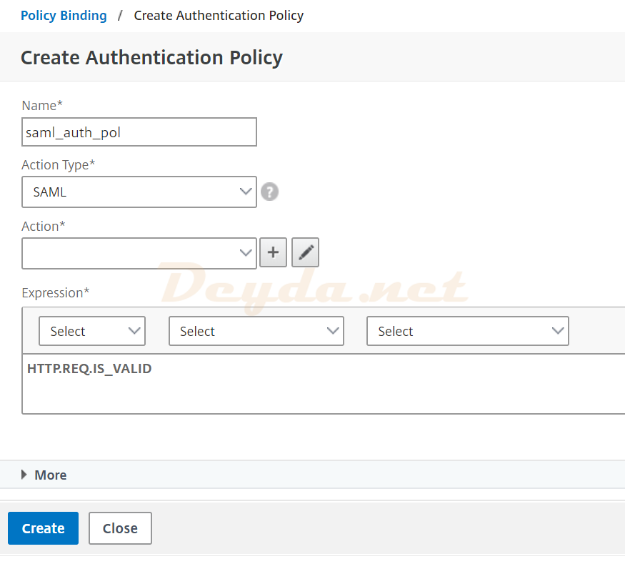 SAML Authentication Virtual Server Advanced Authentication Policies Authentication Policy Create