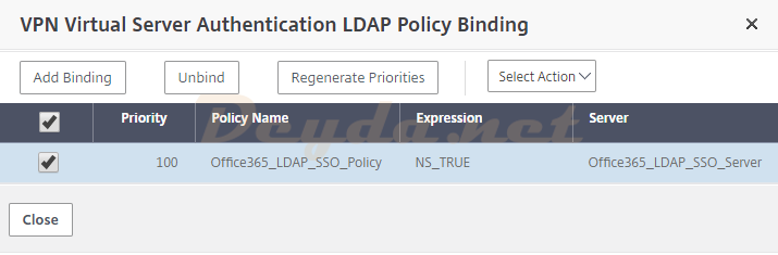 Unbind LDAP Policy VPN Virtual Server Authentication