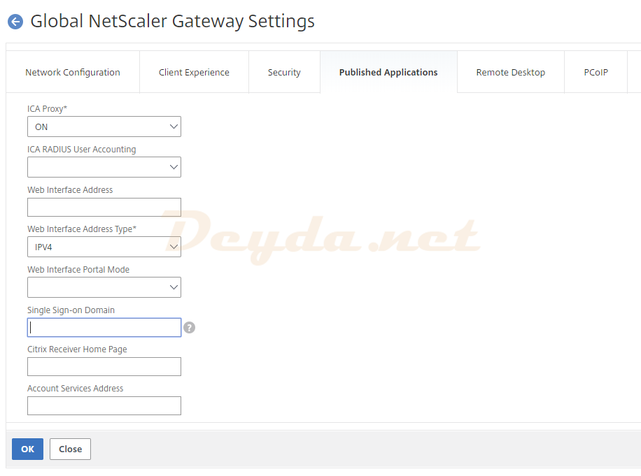 NetScaler Gateway Global Settings Change Global Settings Single Sign-on Domain