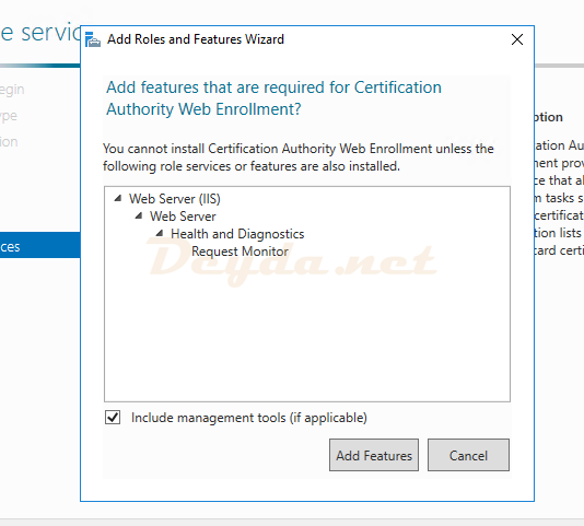 Certification Authority Web Enrollment Add Features