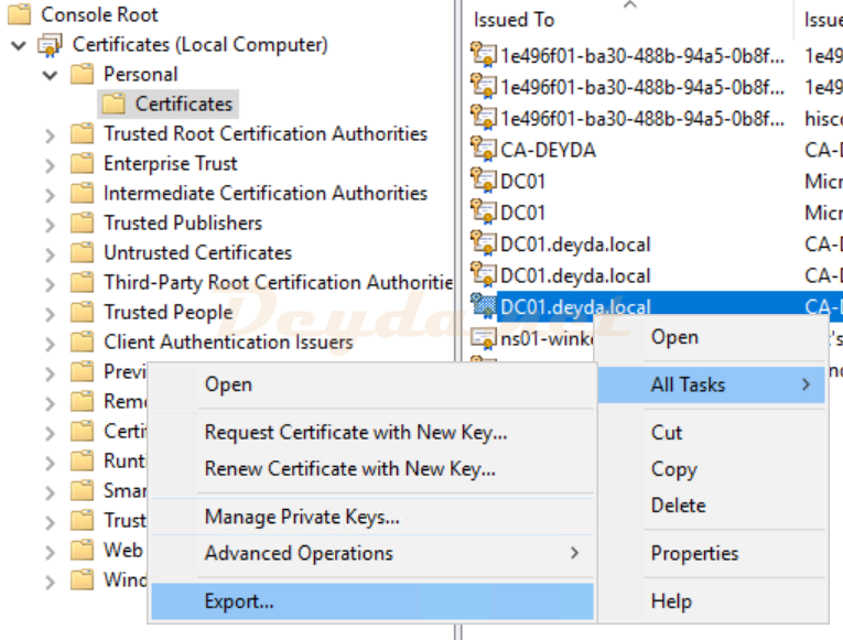 Certificates All Tasks Export