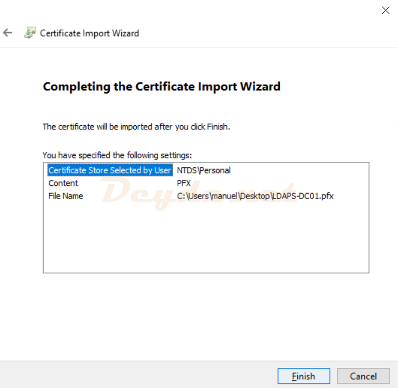 Certificate Import Wizard Completing the Certificate Import Wizard