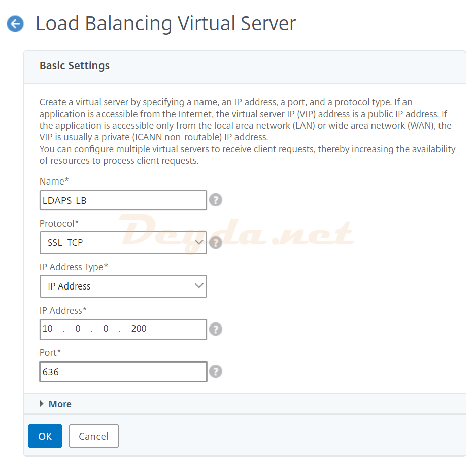 Load Balancing Virtual Server Basic Settings IP Address Type Protocol Port