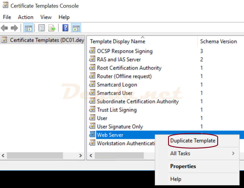 Certificate Template Web Server Duplicate Template