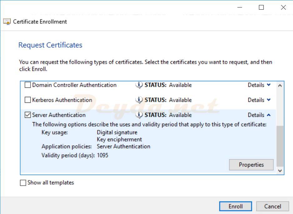 Certificate Enrollment Request Certificates