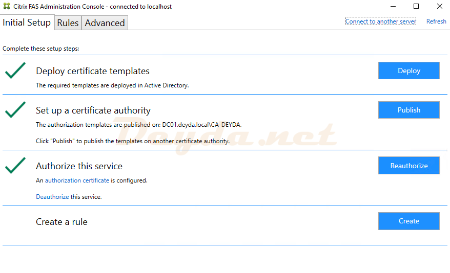 Authorize this Service Citrix Federated Authentication Service