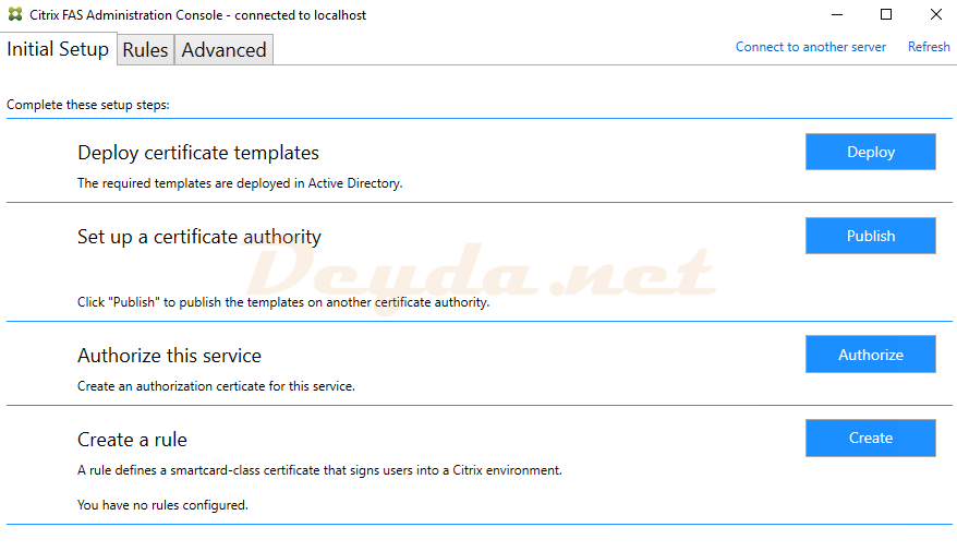 Citrix FAS Administration Console Deploy certificate templates