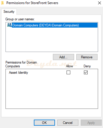 Permissions for StoreFront Servers Domain Computers