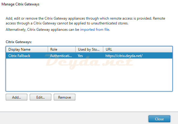 Manage Citrix Gateways ADD EDIT FAS