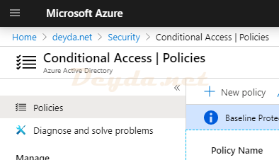 Conditional Access Policies New policy