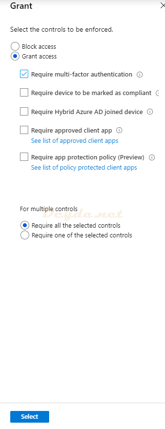 Conditional Access Policies New Conditions Grant Require MFA Authentication