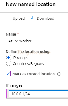 Conditional Access Named locations New named location